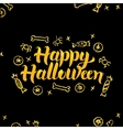 Happy Halloween Gold Black Greeting Card vector image