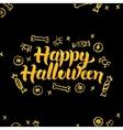 Happy Halloween Gold Black Greeting Card vector image vector image