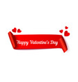 happy valentines day red ribbon with typography vector image