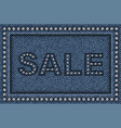 jeans sale poster with sequins vector image vector image