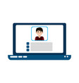 laptop computer video teaching home education flat vector image vector image