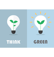 Little plant inside a light bulb Green eco energy vector image