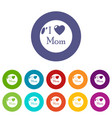 love mother icons set color vector image vector image
