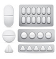 medicine pills set tablets vector image