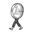 one euro cent coin walk sketch engraving vector image vector image