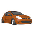 orange renault clio on white background vector image vector image