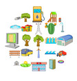 paysage icons set cartoon style vector image