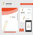 pencil business logo file cover visiting card and vector image vector image