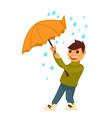 rain weather boy happy under umbrella flat vector image