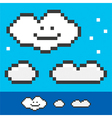 Retro 8-bit pixel clouds set collection vector image