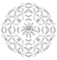 Seamless flower background Black and white vector image