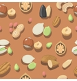seamless pattern nuts hazelnut almonds vector image vector image