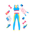 set female fitness equipment top leggins vector image