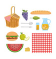 set hamper with tablecloth and food snack vector image vector image