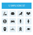 set of 12 editable relatives icons includes vector image vector image