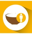 silhouette man rice in bowl nutrition healthy vector image