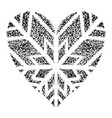 snowflakes in form heart on a blue vector image vector image