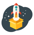 Startup concept Rocket launched from the box Flat vector image vector image