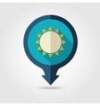 Sun pin map flat icon Summer Vacation vector image vector image