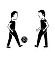 two man playing with ball football vector image