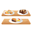 Two wooden shelves with foods vector image