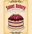 vintage poster sweet berry cake with chocolate vector image vector image