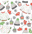 winter wear doodle seamless pattern vector image