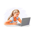 woman at laptop vector image vector image