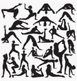 woman yoga exercise silhouettes vector image vector image