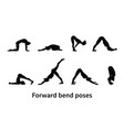 women silhouettes collection of yoga poses vector image vector image
