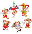 set of cartoon cute cats clowns vector image