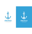 anchor logo combination marine and vector image