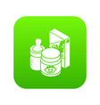 baby food icon green vector image
