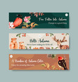 banner template with autumn forest and animals vector image vector image
