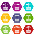 cafe stall icons set 9 vector image vector image