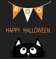cat face head silhouette looking up to bunting vector image