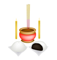 Chinese Baozi with Candle and Joss Stick vector image vector image