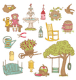 Colorful Summer Garden Doodles vector image vector image