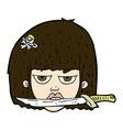 comic cartoon woman holding knife between teeth vector image vector image