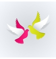 couple paper doves on a white background vector image vector image
