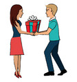 couple with giftbox present vector image