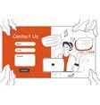 customer service online support website template vector image