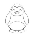 cute sketch draw penguin cartoon vector image vector image