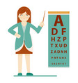 doctor ophthalmologist at test chart isolated on vector image