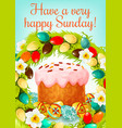 easter sunday greeting card with cake and eggs vector image vector image