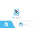 eye and book logo combination optic and vector image vector image