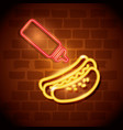 fast food hot dog neon label vector image vector image