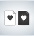 favorite document file icon with heart flat sign vector image vector image