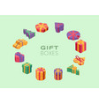 gift boxes isometric color frame christmas vector image vector image