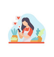 girl talking about houseplants young woman vector image vector image